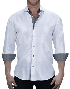 Designer White Diamond Print Dress Shirt
