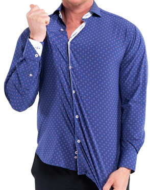 Elegant Maceoo Einstein Star Blue Dress Shirt