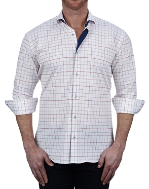 Luxury White Check Dress Shirt