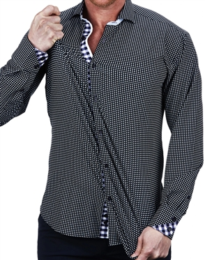 Elegant Maceoo Einstein Micro Check Black Dress Shirt
