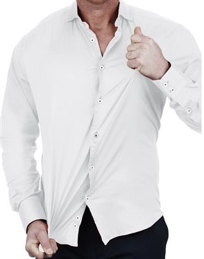 Elegant Maceoo Einstein Soft Butter White Dress Shirt