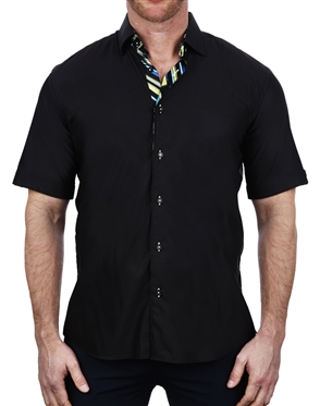 Sporty Black Short Sleeve Shirt