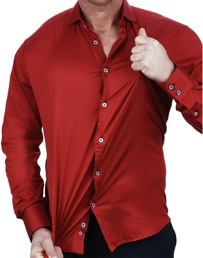 Elegant Maceoo Einstein Soft Butter Red Dress Shirt