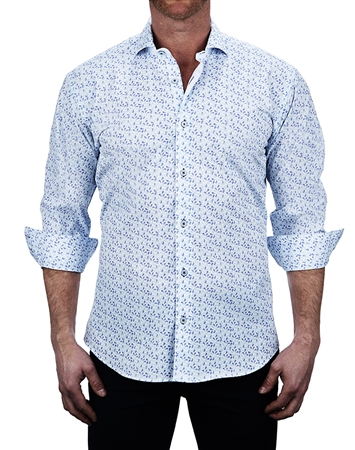 Elegant Paisley Print white Dress Shirt