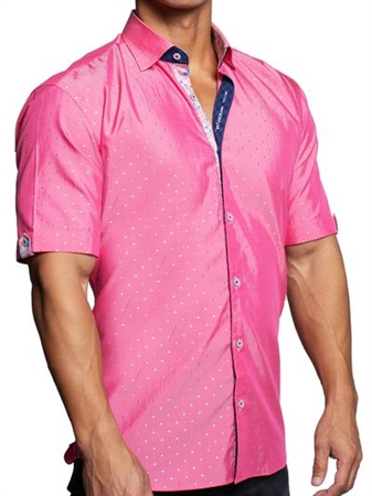 pink galileo silverdot  Print Dress Shirt