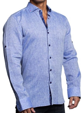 Maceoo einstein linen blue Dress Shirt