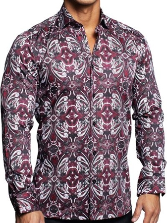 Red Dress Shirt | Red Paisley Casual Shirt