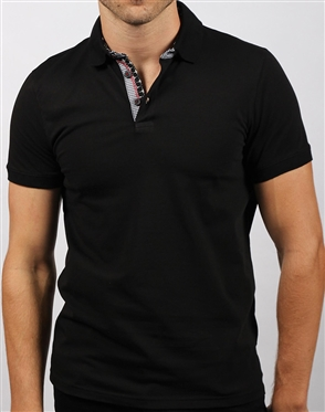 Luxury Slim Fit Polo - Black Polo Shirt