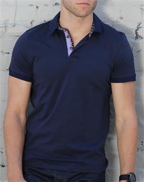 Luxury Slim Fit Polo - Navy Polo Shirt