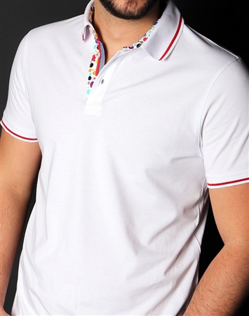 Designer White Polo Shirt