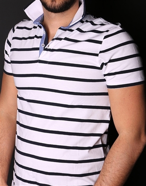 Modern White Navy Stripe Polo