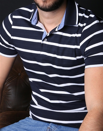 Modern Navy White Stripe Polo
