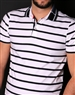 Luxury White and Navy Striped Polo