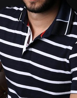 Luxury Navy and White Striped Polo