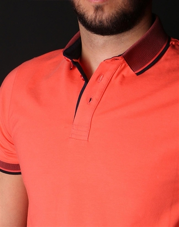Men's Luxury Sport Polo - Orange Short Sleeve Polo