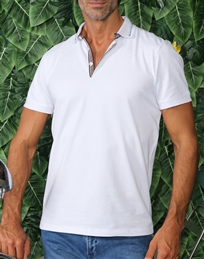 Designer Casual White Polo