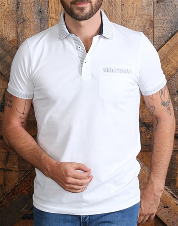 Luxury White Short Sleeve Polo