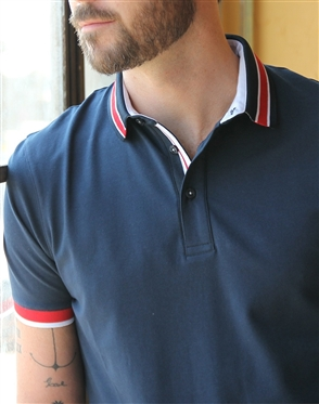 Trendy Slim Fit Navy Polo