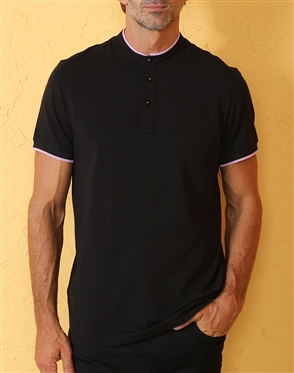 Modern Unique Black Henley Polo Shirt