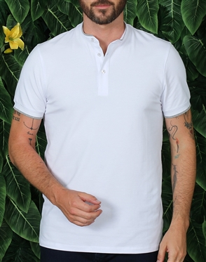 Modern Unique White Henley Shirt