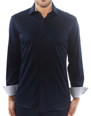 Luxury Navy Knit Shirt