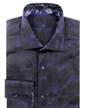 Designer Shirt - Navy Jacquard Button down