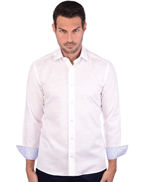 Luxury Dress Shirt - White Blue Print Shirt