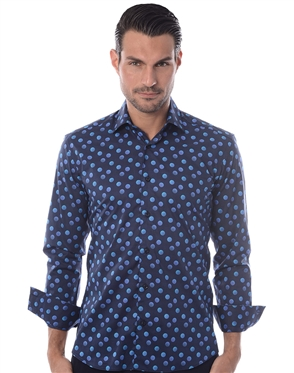 Luxury Navy Blue Dot Sport Shirt