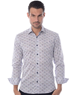 Unique Dress Shirt - White Blue Fish