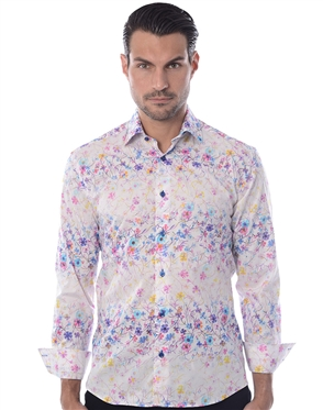 White Floral Print Dress Shirt