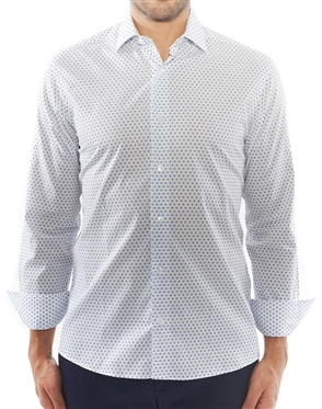 White Blue Square Print Shirt