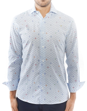 White Blue Geometric Print Shirt