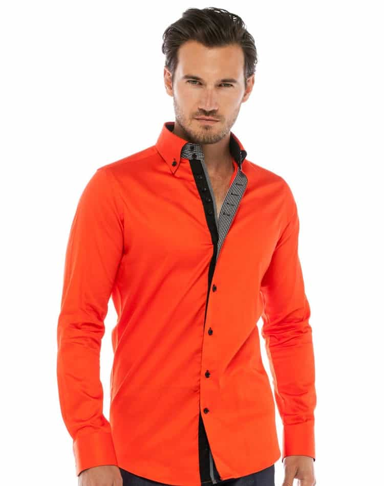 Orange Dress Shirts Men's Casual