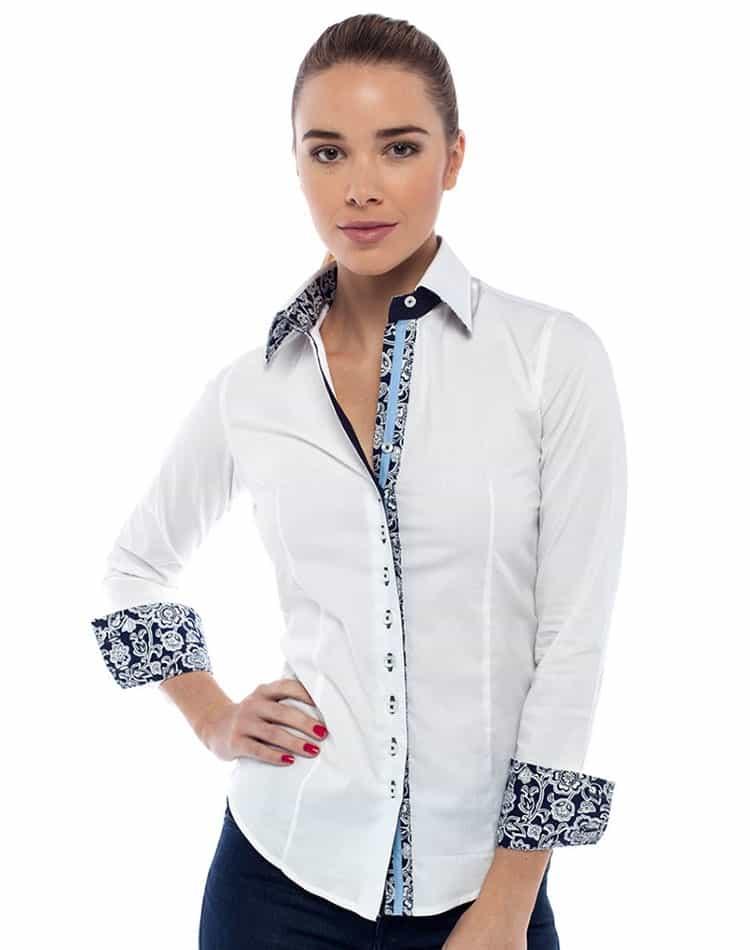 Designer White Dress Shirt Women Luxury Button Down Botagi
