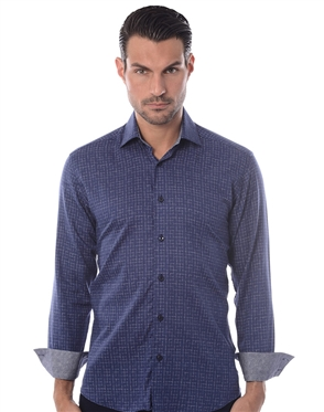 Navy Sketch Check Dress Shirt
