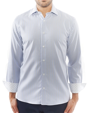 White Blue Stripe Dress Shirt