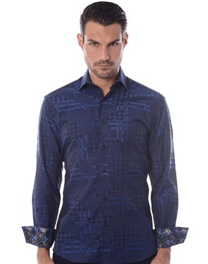 Unique Navy Check Dress Shirt