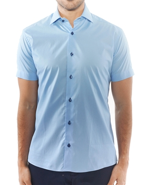 Modern Blue Short Sleeve Button Down
