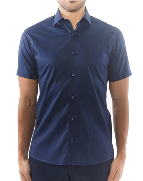 Sporty Navy Dress Shirt