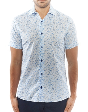 Light Blue Floral Short Sleeve Dress Shirt