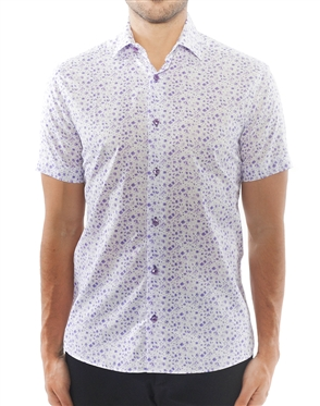 Light Purple Floral Short Sleeve Dress Shirt