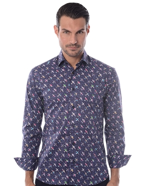 Navy Multi Print Dress Shirt
