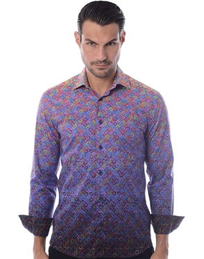 Purple Gradient Print Dress Shirt