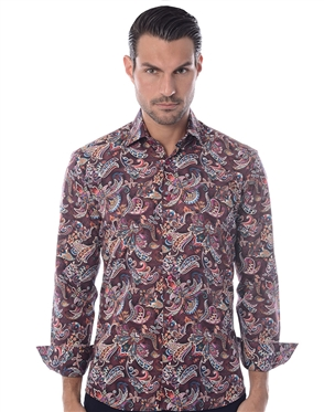 Red Paisley Print Dress Shirt