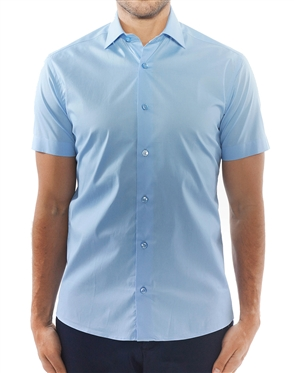 Solid Blue Short Sleeve Dress Shirt