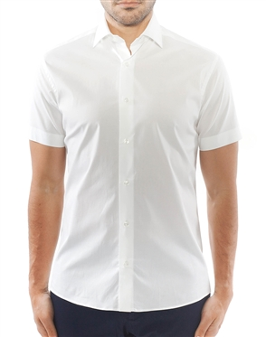 Solid White Short Sleeve Dress Shirt