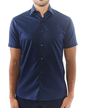 Solid Navy Short Sleeve Dress Shirt