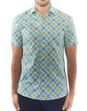 Green Floral Short Sleeve Shirt