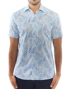 Blue Bubble Print Dress Shirt