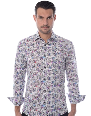 White Purple Floral Fashion Shirt